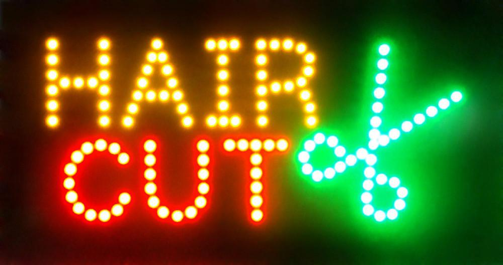 New Arriving Ultra Bright flashing hair cut led sign billboard led barber neon light sign 10*19 inch wholesale
