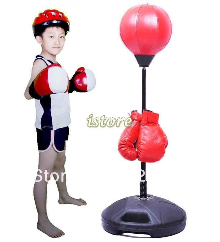 444a6a6cf Compre Crianças Crianças De Fitness Em Pó De Perfuração Saco De Boxe  Tumbler Agilidade Speed Ball Stand Menino Sandbag Luva De Boxe Set  Brinquedo Do ...