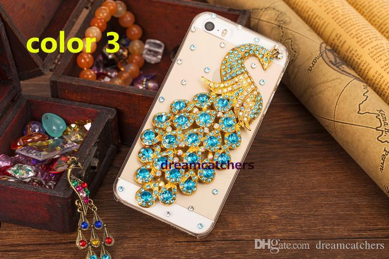 Transparent Diamond Rhinestone Peacock case For iphone 6s Fashion Bling 3D colorful back shell cover for iphone 5s