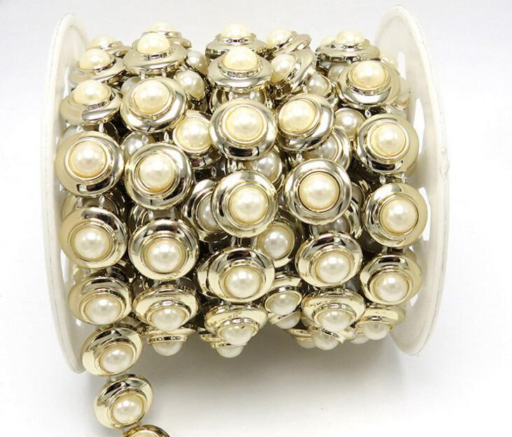 20yard Half ROund Pearl Beads UV Plated Chain Trim For Sewing Apperal Bag Shoes Cap Collar Decoration