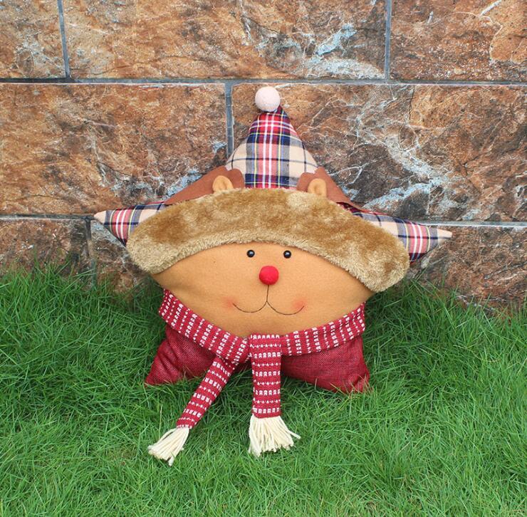 Christmas five star pillow cushion 2018 Wholesale Santa Claus snowman elk ornaments holiday christmas decoration supplies