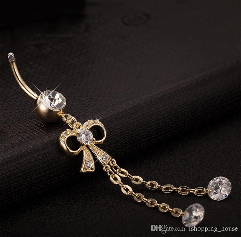 Super caldi vendita sexy ragazze sexy 18 carati in oro giallo placcato stile lungo arco dell'ombelico ombelico del pancia del corpo piercing anello dell'ombelico le donne BR-030