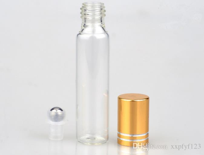 Frascos de perfume 10ml frasco de pulverizador de vidro transparente vazio claro recarregável perfumes atomizador com esferas de aço amostras portáteis b706