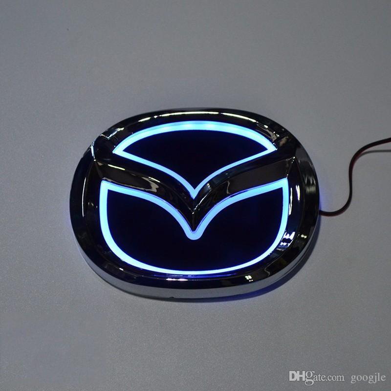 Estilo do carro Especial modificado branco / Vermelho / Azul 5D Emblema Traseiro Emblema Logotipo Luz Da Etiqueta Da Lâmpada Para Mazda 6 mazda2 mazda3 mazda8 mazda cx7