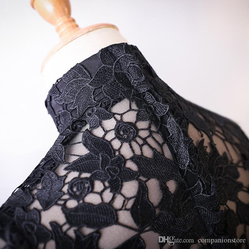 Really Photo Black Lace And Tulle High Neck Three Quarter Sleeves Zipper Floor Length Ball Gown Mother of the Bride Dresses Prom Dress