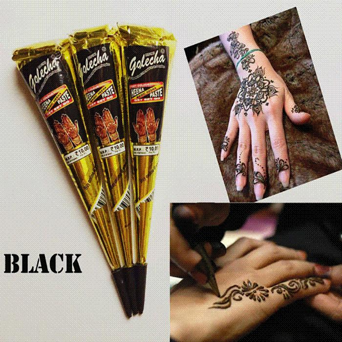 Golecha Black Indian Henna Tattoo Paste Cone Body Art Temporary Fake