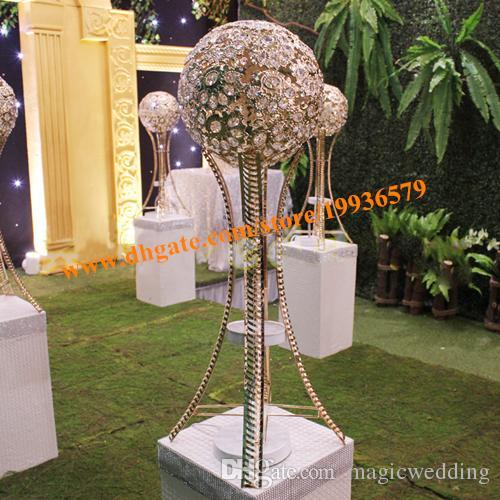 H27in 웨딩 테이블 대형 중앙 장식품 결혼식 테이블 스탠드 실버 또는 골드, 크리스탈 금속 공 촛대