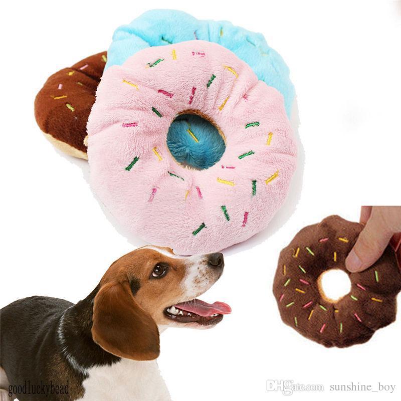 Pet Dog Filhote de Cachorro Gato Squeaker Quack Sound Toy Chew Donut Jogar Brinquedos Creme rosquinha Adorável animais de estimação som brinquedo de pelúcia