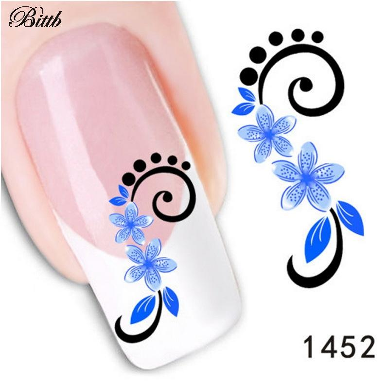 Bittb Diy Nail Decals 5 Petal Blue Flower Fingernail Beauty Custom