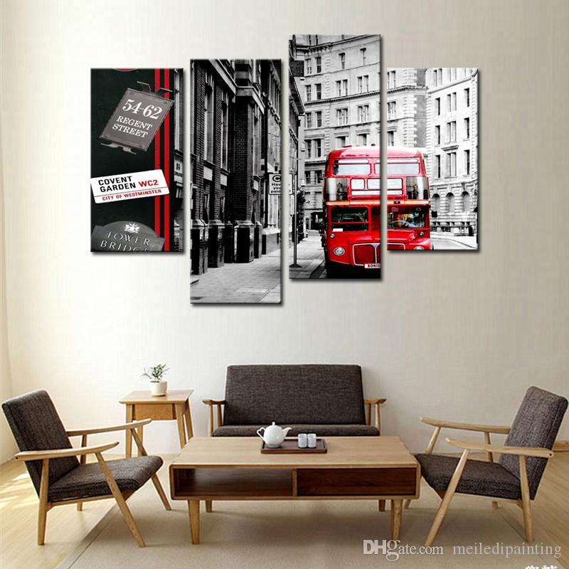 Satın Al 4 Panel Duvar Sanatı Boyama Kırmızı Londra Otobüs Siyah Ve