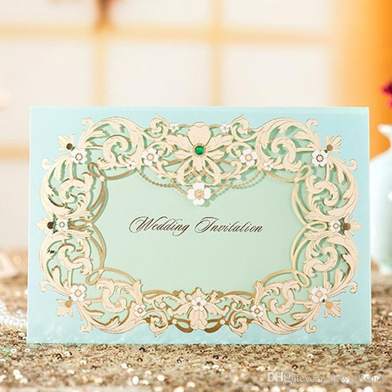 Gold Green Wedding Invitation Card+Free Customized Printing+Envelope ...