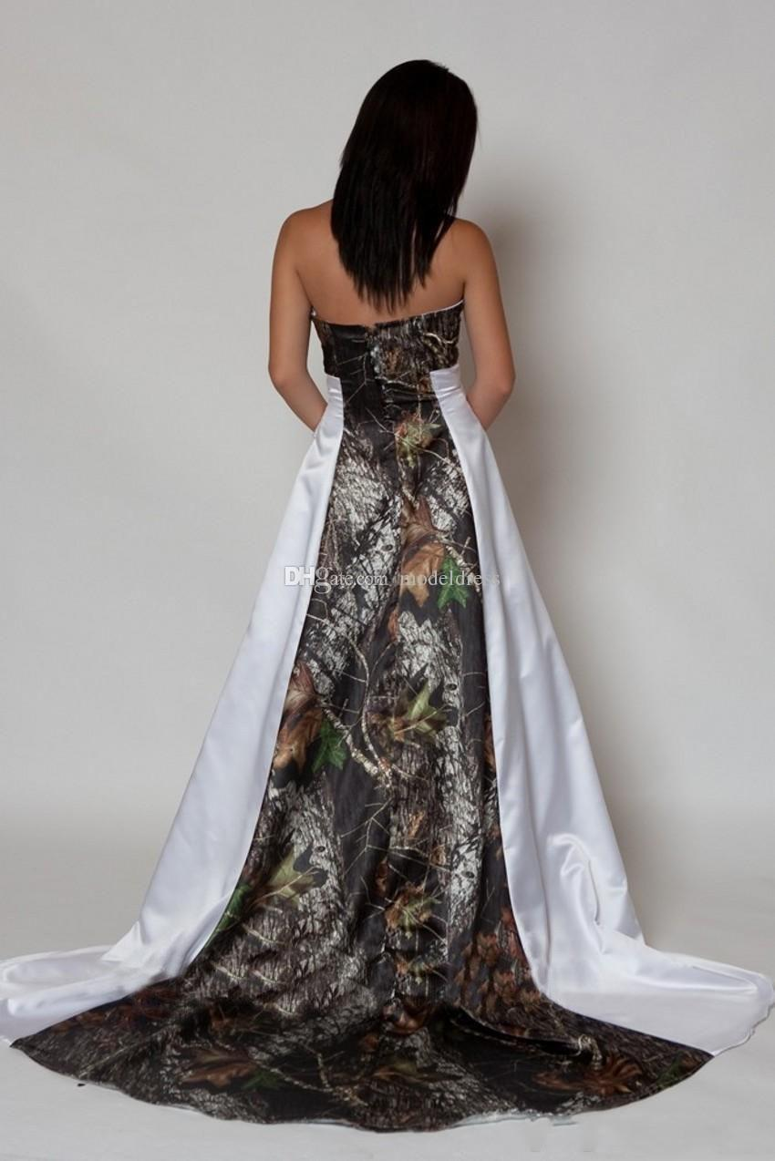 Nuevo diseño Camo Wedding Dress 2019 Strapless pliegues A Line Sweep Train Satin Country Beach Vestidos de novia Tallas grandes a medida por encargo