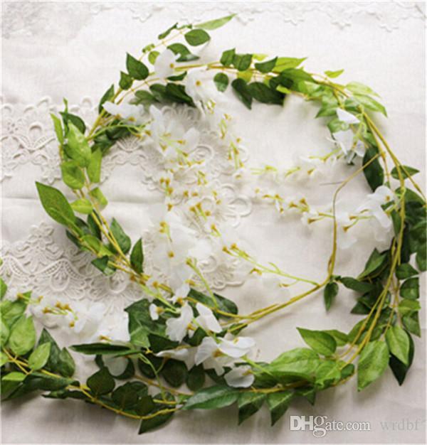 2 Stücke 190 cm Gefälschte Wisteria Blume Rattan Silk Wall Mounted Blumen Reben Seidenpflanzen Stoff Girlanden für Hochzeit Dekorative Blumen
