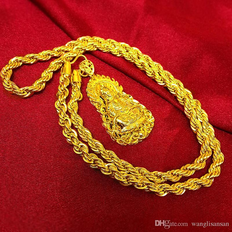 Vintage 24K Real Yellow Gold Plated Buddha Pendant &Necklace Twisted Chain Buddhist Beliefs Necklace Men Women