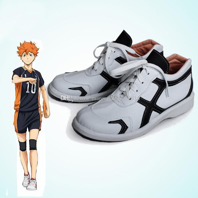 Anime giapponesi HOT Haikyuu !! Karasuno Uniforme scolastica Jersey Cosplay Accessori Accessori Scarpe sportive Bianche su misura