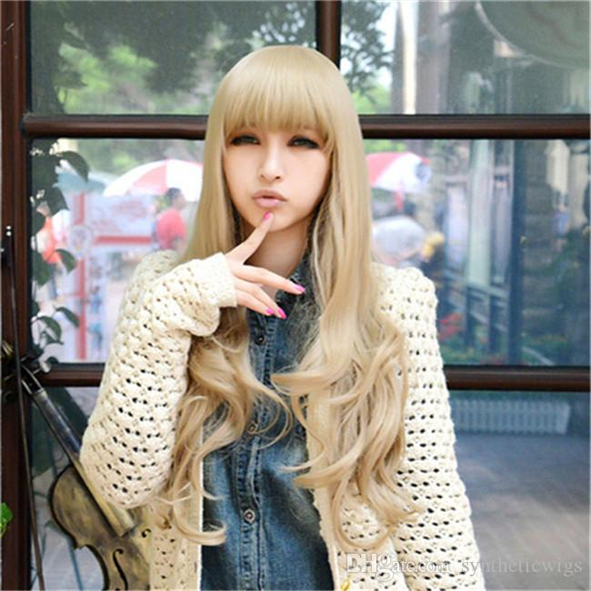WoodFestival fashion women wig with bangs long curly blonde wig natural heat resistant synthetic fiber hair wigs wavy