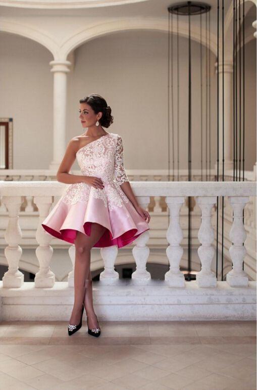 Nuevo diseño de un hombro rosa corto vestido de Cóctel 2018 elegante vestido de fiesta de encaje vestido de fiesta Sexy longitud de la rodilla robe De Soiree vestidos de regreso al hogar