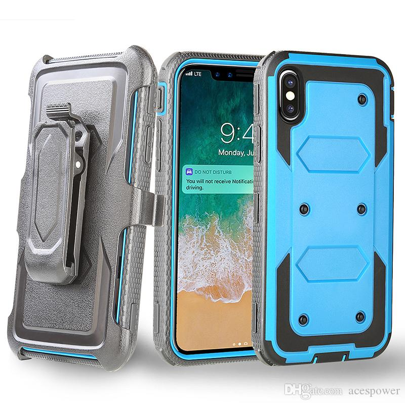 brand new ef835 cb6c0 Heavy Duty Holster Case with Belt Clip Cover Hybrid Case For Iphone XR XS  MAX X 8 Plus Samsung Galaxy Note 9 S9
