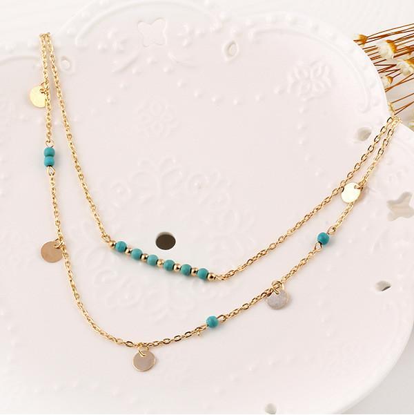Sautoirs Colliers Bijoux Bohême Femmes Bleu Perles Plaqué Or Alliage Paillettes 2-couches Clavicule Chaîne Collier En Gros Drop Shipping SN702
