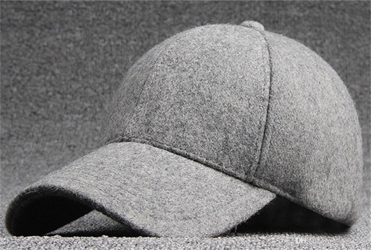 Classic Blank Wool Felt Baseball Caps For Men Women Autumn Winter Mens  Plain Woolen Blending Ball Hats Strap Back Black Grey Wholesale Trucker Cap  Snapback ... bfb5d79b7e1