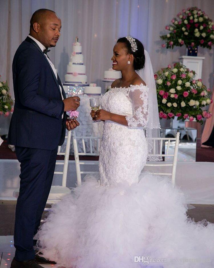 2017 Incredibile Africano Sexy Off Spalla in rilievo in rilievo Mermaid Abiti da sposa 2016 Cappella Treno Bridal Abiti da sposa Robe de Mariage Plus Size