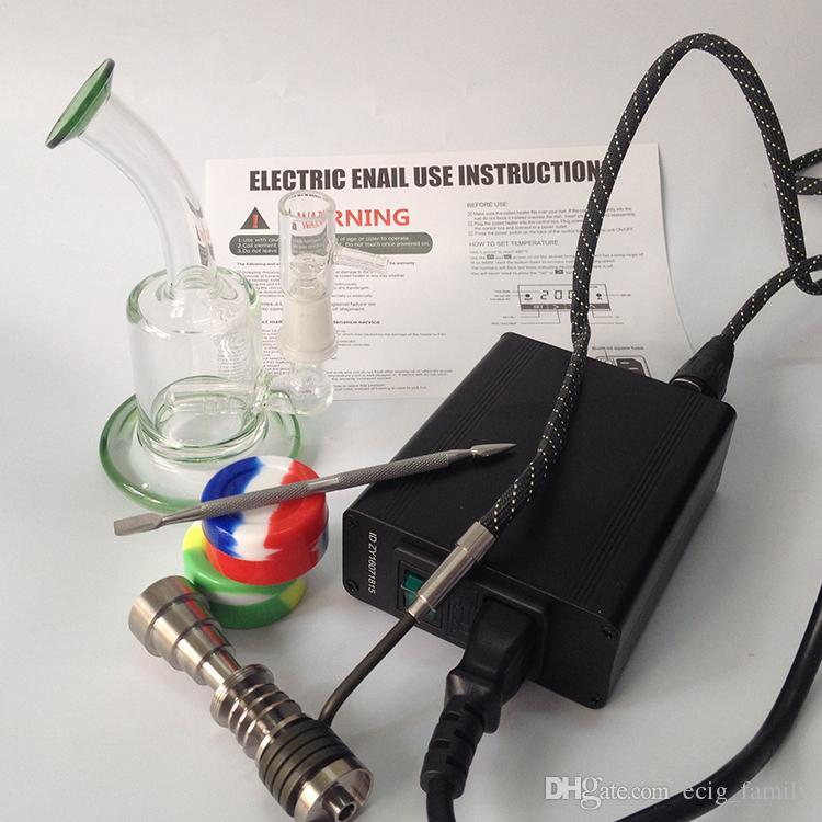 E kit d'ongles De G9 Electronic Boîte de contrôleur de température eNail Pour Bobine de fumée DIY avec clou en titane avec verre Bong Vapeur Cire Herb
