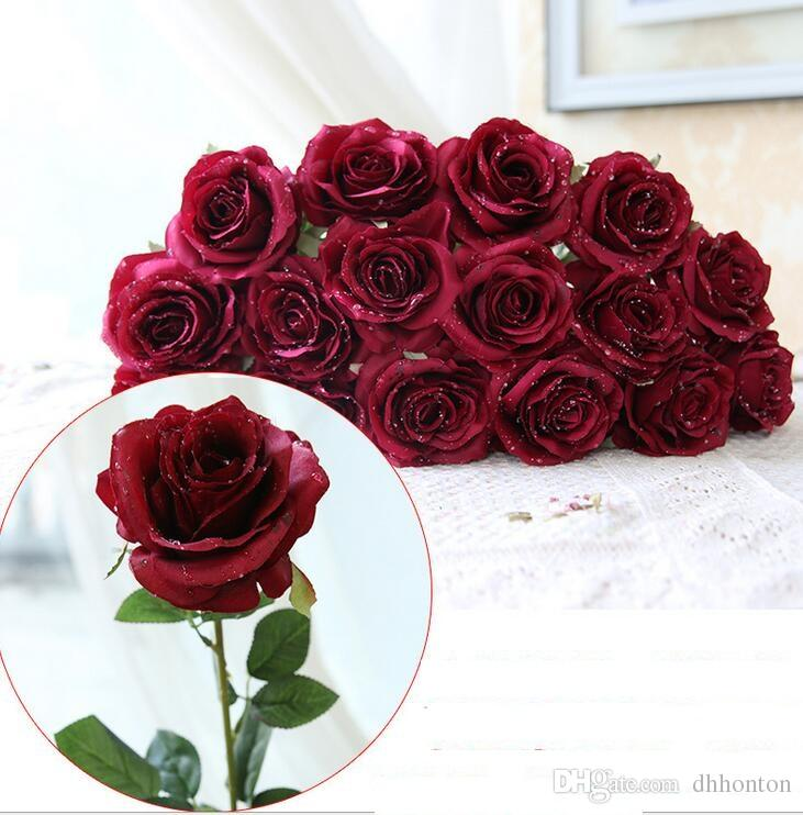 웨딩 홈 장식 8 색 저렴한 판매 HR019 물 드롭 로즈 실크 공예 꽃은 실제 모습의 꽃