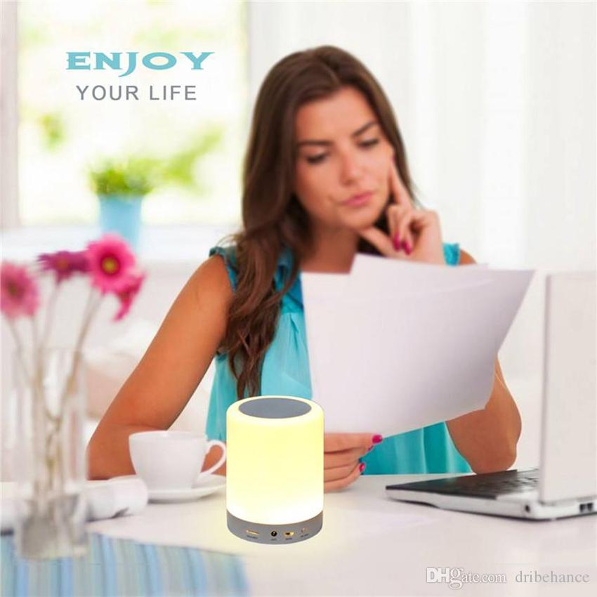 LED Light Bluetooth Speakers Portable Wireless Music Speaker Smart Touch Control Color LED Bedside Table Lamp Speakerphone TF Card