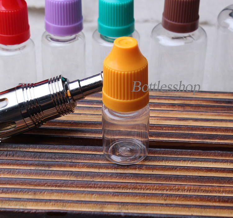 Garrafas de agulhas coloridas 5ml garrafas de conta-gotas de plástico PET transparente vazio E Cig garrafas de óleo com tampas de garrafa de prova de criança e ponta de gotejamento