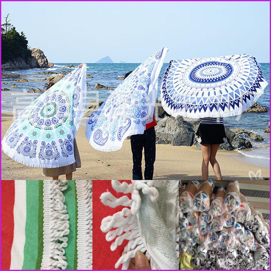 Round Tassel beach towel 150*150cm Bohemia Tassel Knitted blanket Hinking Camping Outdoor Pads Tools
