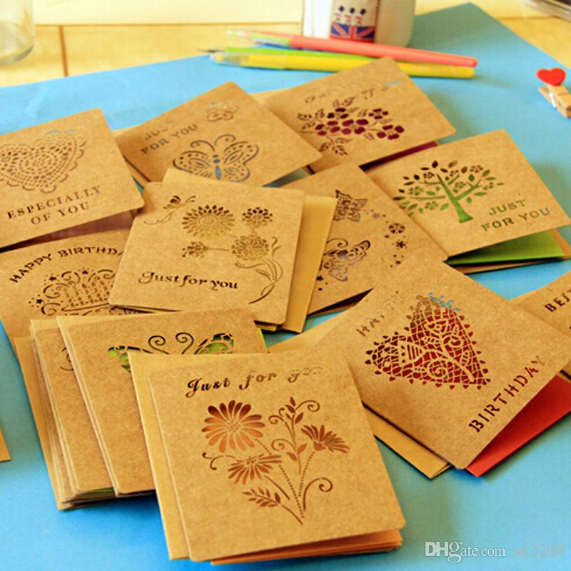 New Creative Delicate Hollow Out Kraft Paper Birthday Greeting Card Elegant Envelope Lovely Gift Card Creative