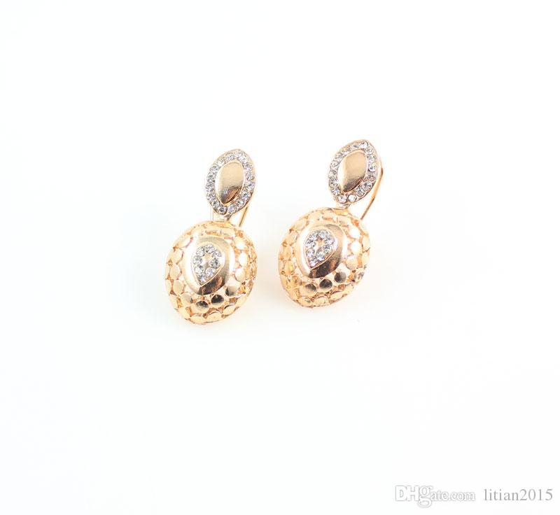 New Design Dubai Women Fashion Jewelry Set Australia Crystal 18k Gold Plated Chunky Necklace Bangle Wedding Bridal Jewelry Sets