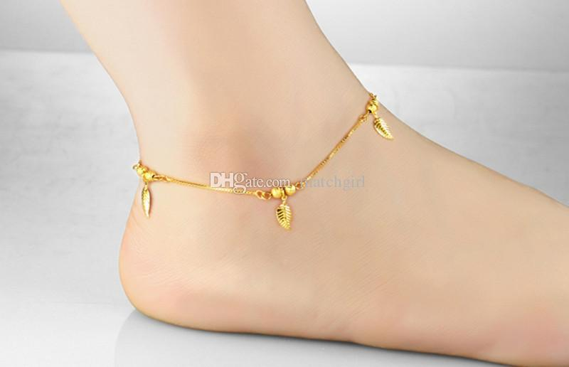 bracelet anklet anklets item foot from for gold real jewelry platinum chain plated women on a leg fashion in