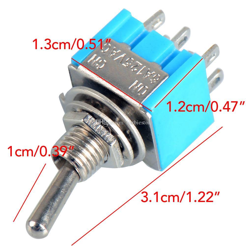 bleu 6 broches DPDT ON-ON Mini MTS-203 6A125VAC Miniature Commutateurs à Bascule B00020 BARD