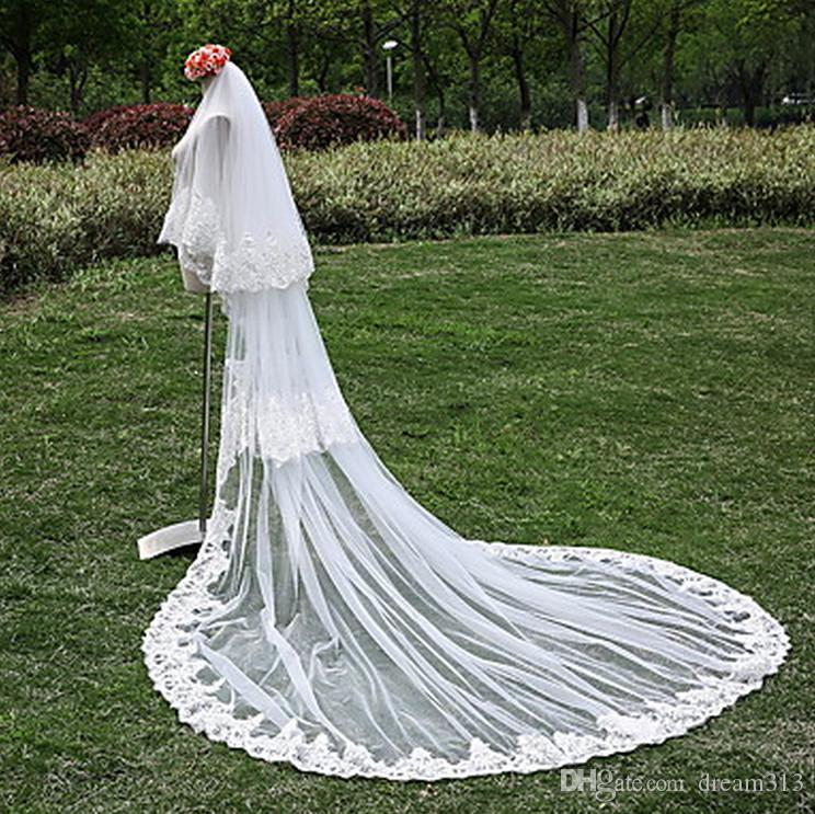 2016 New Top Quality Romantic Amazing Cathedral Lace Applique veil Bridal Head Pieces For Wedding Dresses