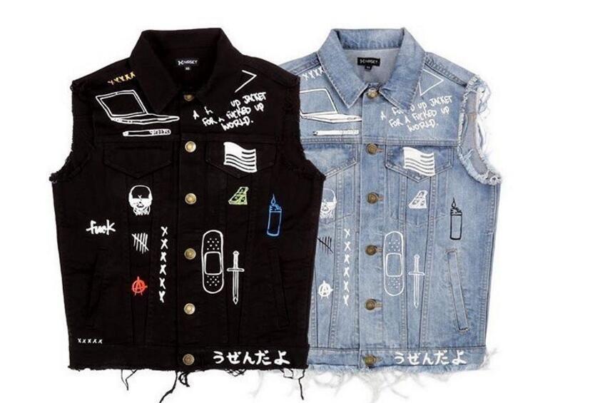 Compre Hot Vendas Streetwear Harajuku Swag Coreano Roupas De Moda Casacos  Hip Hop Mens Roupas Clube Desgaste Casaco Azul   Preto Jean Jeans Homens De  ... 5da4ca6e193
