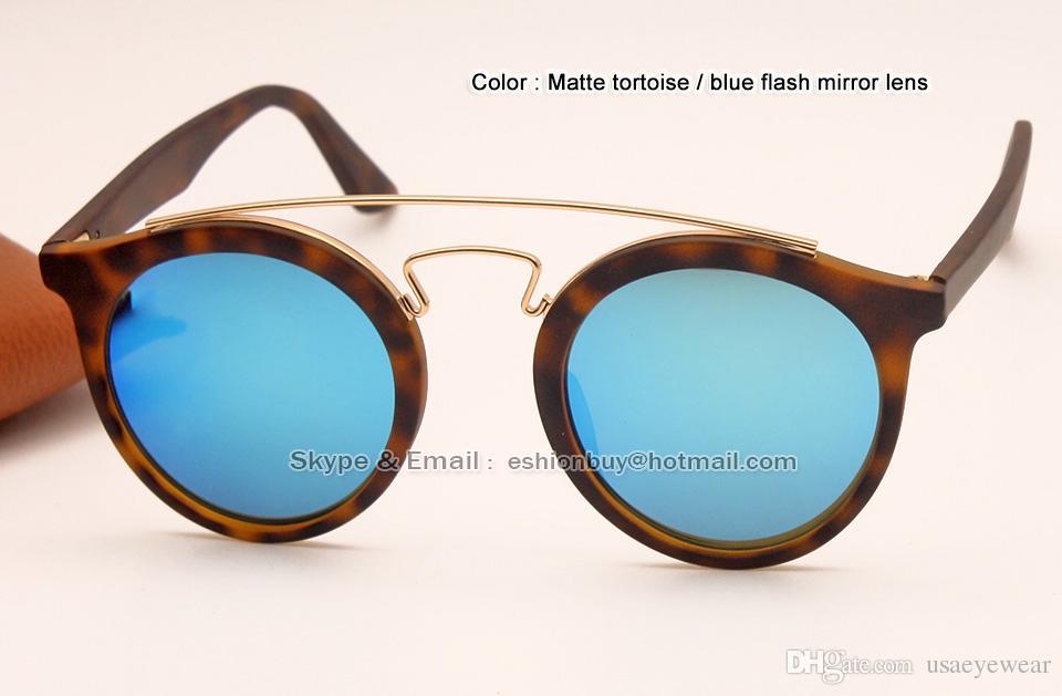 ae5ceb49ab Compre Gafas De Sol Redondas Tortuga Negro Azul Rosa Espejo Verde En Caso  De Marco Redondo 47mm A $21.32 Del Usaeyewear   DHgate.Com