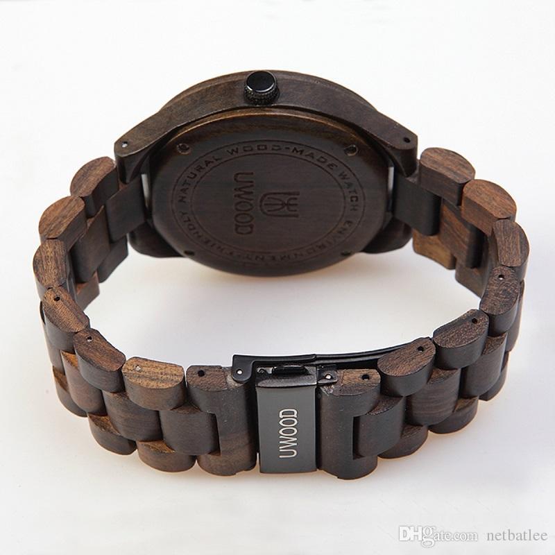 2017 Nueva Negro Natural de la sandalia de madera del reloj análogo del movimiento de Japón uWood MIYOTA cuarzo relojes de vestir de madera Reloj de pulsera para unisex