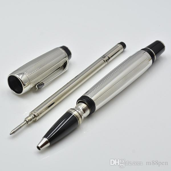 جودة عالية الفضة AG925 المعادن الأسطوانة الكرة القلم مع جوهرة مدرسة مكتب القرطاسية الكلاسيكية الكتابة الكرة الأقلام للهدايا التجارية