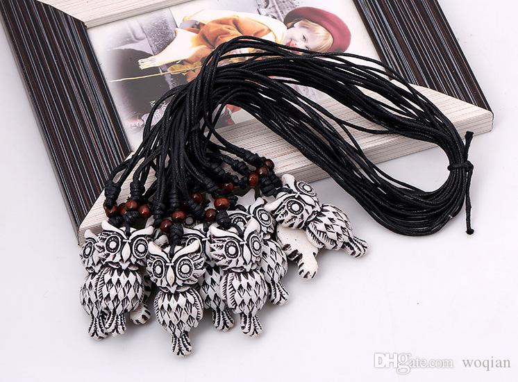 Fashion Jewelry Owl Necklace Woen's Personality Wax Rope Beaded Resin Clavicle Necklace Casual Vintage Punk Necklace N0006