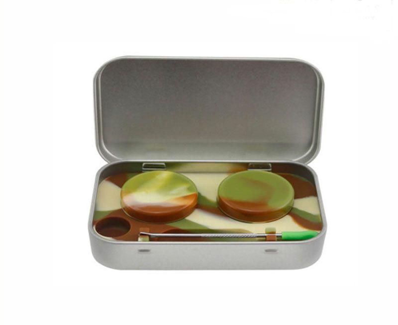 4 em 1 Estanho Kit De Armazenamento De Silicone Set com 5 ml Recipiente de Cera De Silício Óleo Jar Base de Prata Dab Dabber Ferramenta de Metal caso