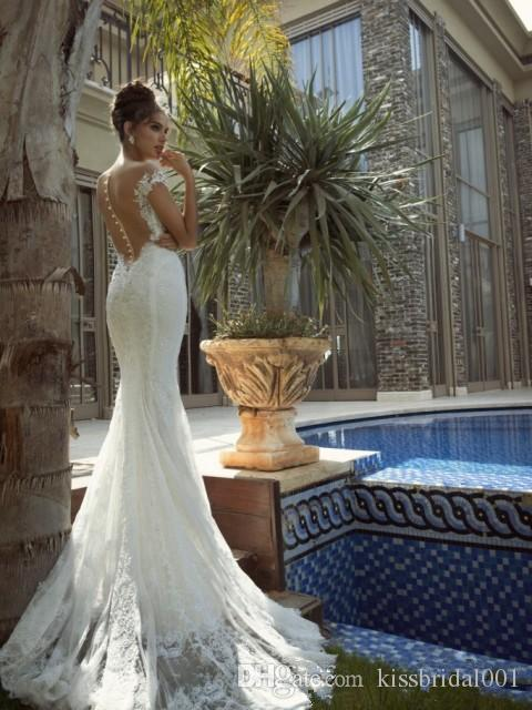 Real Image Lace Wedding Dresses Full Lace Vintage Mermaid Berta Bridal Illusion Bridal Gowns With Cap Sleeves Court Train
