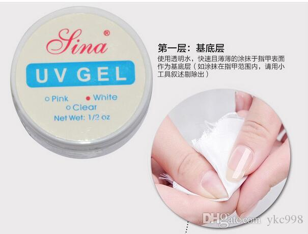 Sina UV Gel Builder Rosa + Blanco + Claro Tres colores Nail Art Glue Consejos falsos Nail Art Salon Sina UV Builder Gel