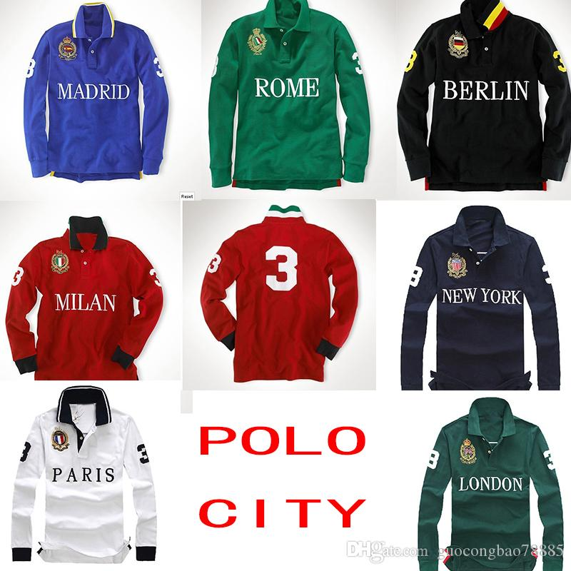 2018 Brand Polo Shirts Top Quality Embroidery Casual Mens Long
