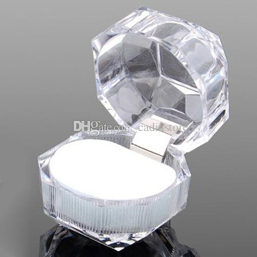 Ring Earrings Jewelry Crystal Box Storage Gift Case Display Transparent C00375 CAD