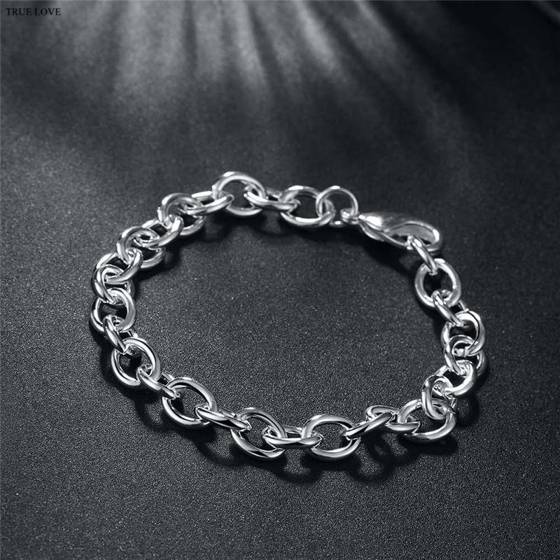 High-quality 925 sterling silver plated chain bracelet fashion jewelry cool street style Christmas gift