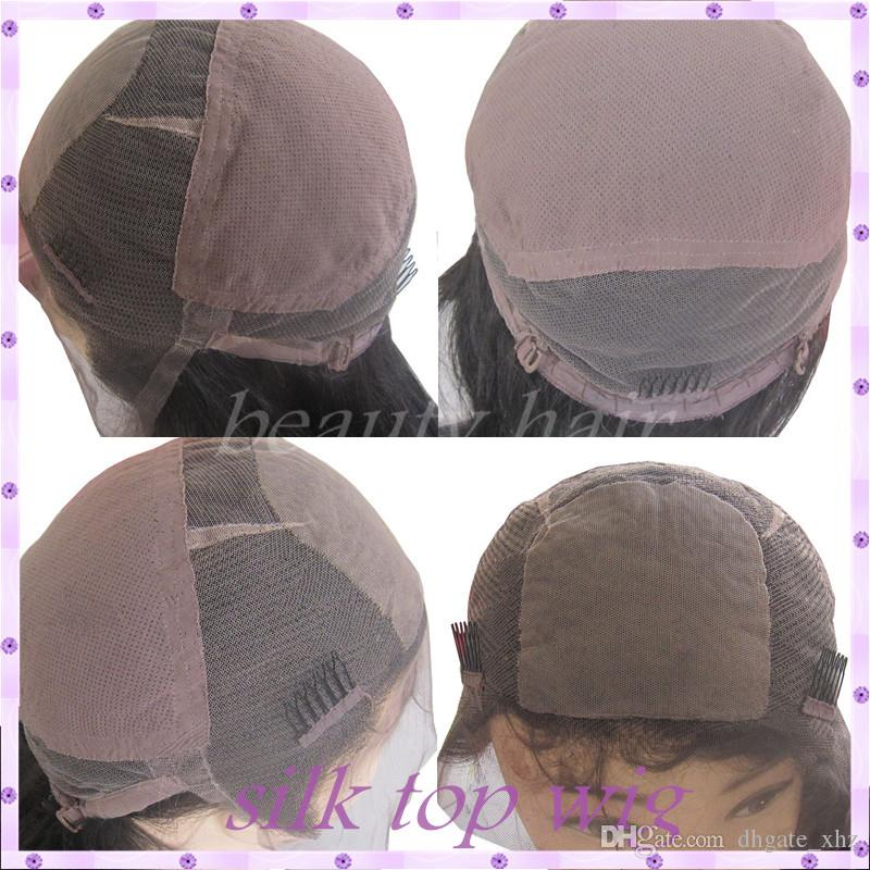 Yaki Straight Full Lace Human Hair Wigs Silk Top Glueless Full Lace Wigs For Black Women Peruvian Virgin Hair Silk Base Wigs