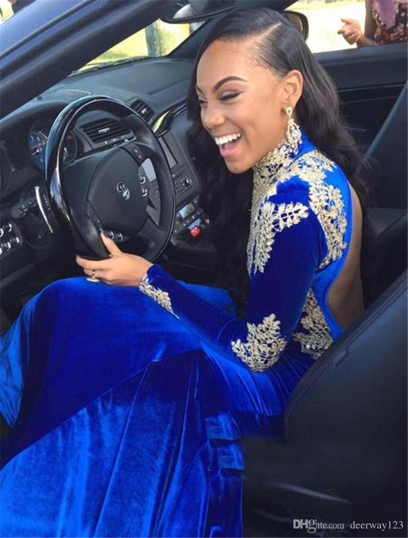 Apliques Elegante Royal-Blue Sirena Cuello alto Mangas largas Vestido de fiesta Cristales de terciopelo Vestido de noche con espalda abierta Vestido largo de fiesta