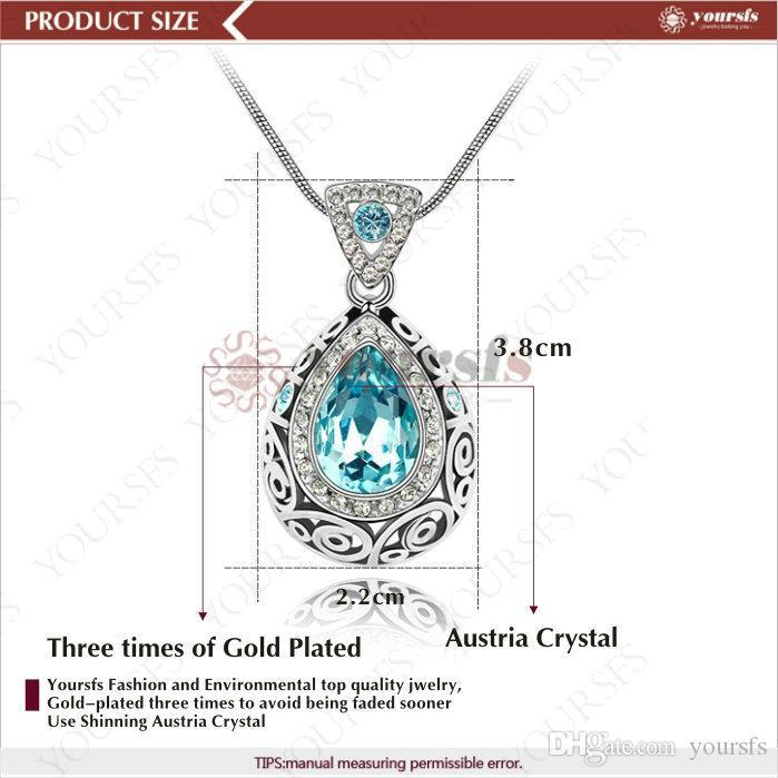 TheSFS 18K blanc plaqué or cristal de cristal Pandent Déclaration Collier Utiliser des bijoux de mode vert autrichien vert
