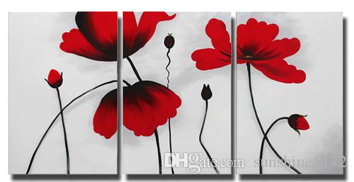 Lotus Flower Canvas Painting Wall Decor 3 Panel Red Flower Oil ...